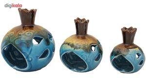 جاشمعی سرامیکی مدل انار مشبک Pomegranate طرح شعله ای مجموعه سه عددی